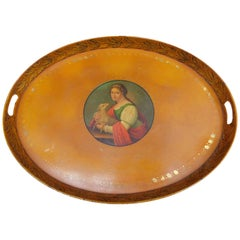 French Empire 1820 Yellow Tole Tray with Painted Portrait of a Woman and Lamb