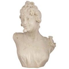 Italian 19th Century White Carrara Marble Bust, Signed R. Batelli