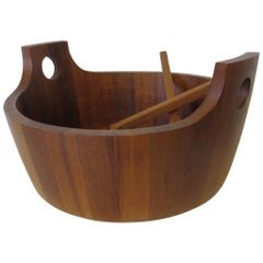 Large Staved Teak Salad Bowl with Spoons by Richard Nissen, Denmark