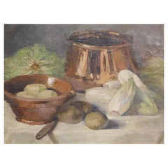 Flemish Still Life Painting with Vegetables and a Copper Pot
