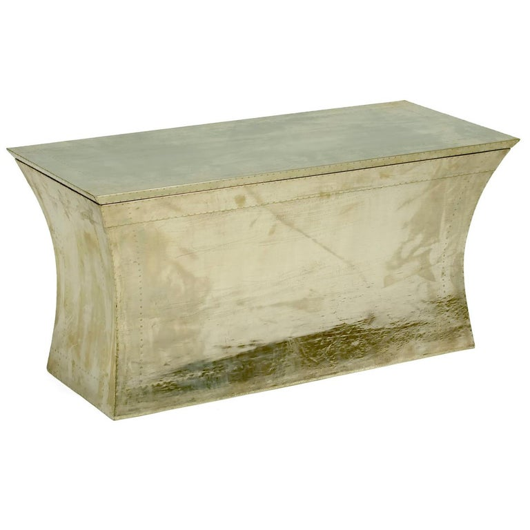 Surprising White Bronze Clad Vaisseau Storage Bench Alphanode Cool Chair Designs And Ideas Alphanodeonline