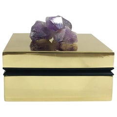 Amethyst and Brass Jewelry Deco Box