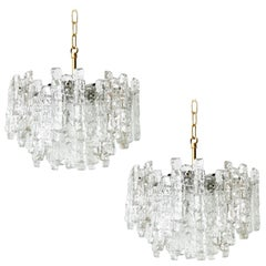 Pair of Kalmar Ice Glass Chandeliers Pendant Lights, 1970