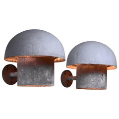 Bjarne Bech Pair of Metal Outdoor Wall Lamps for Louis Poulsen, Denmark