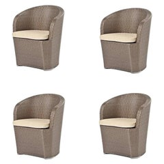 Set of 4, Outdoor Pool Side Dining Chairs in Moka or Dark Brown Woven Finish