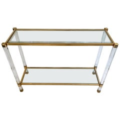 Two-Tier Lucite and Brass Console Table in the Taste of Pierre Vandel