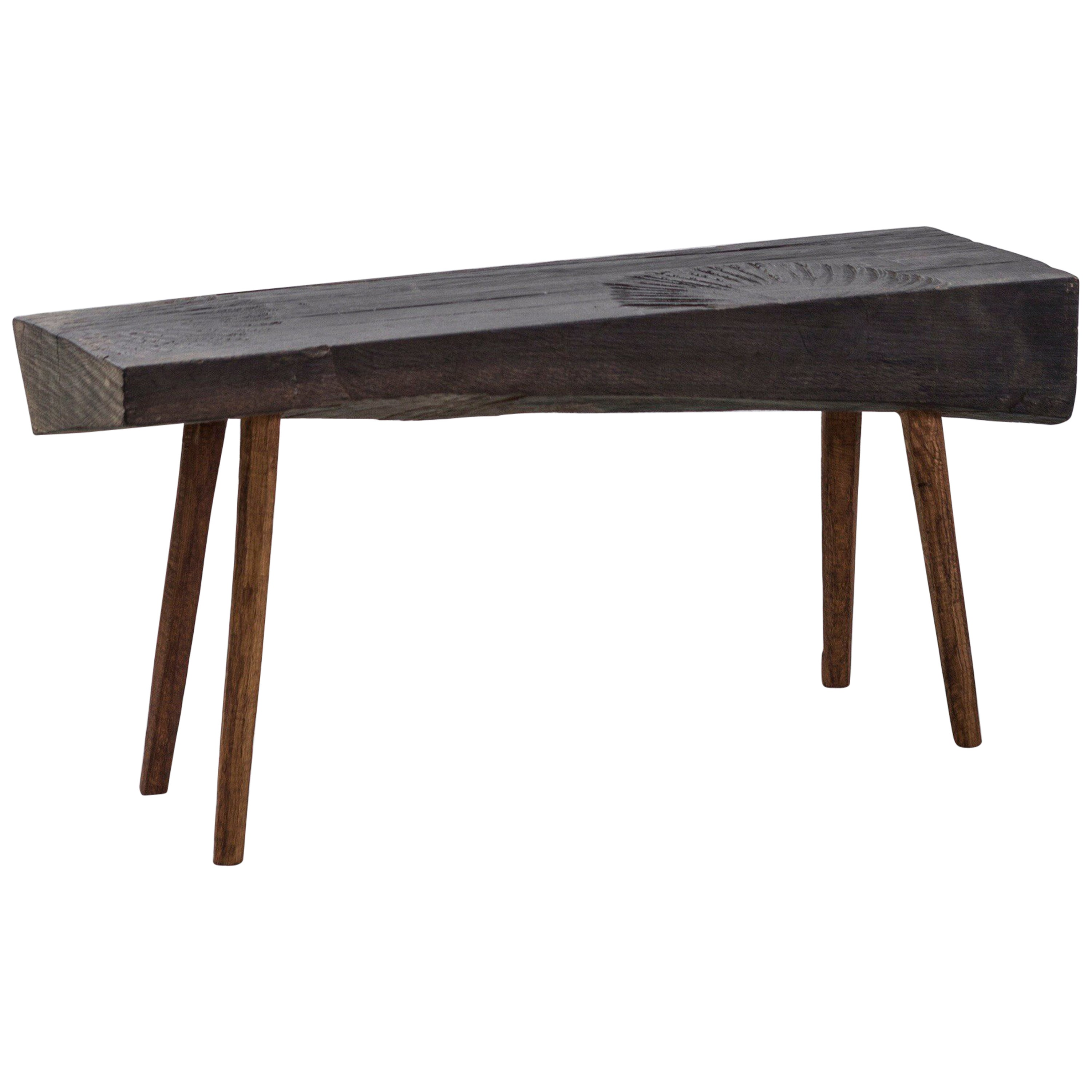 Contemporary Brutalist Style Small Table #4 in Solid Oak and Linseed Oil