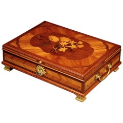 Late Louis XV Ormolu Mounted Marquetry Document Box in the Manner of Oeben
