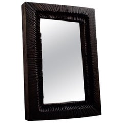 Contemporary Brutalist Style Wall Mirror in Solid Oak
