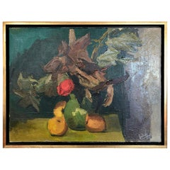 1960s Oil on Canvas, Abstract Nature Morte, Signed and Dated
