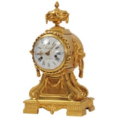Early Ormolu Bronze Antique French Drum Head Clock by Antoine Foullet circa 1770