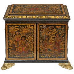 Exceptional Regency Black Miniature Japanned Cabinet