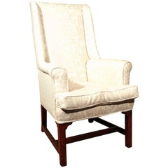 George III Oak Fireside Wing Armchair in Ivory, circa 1780