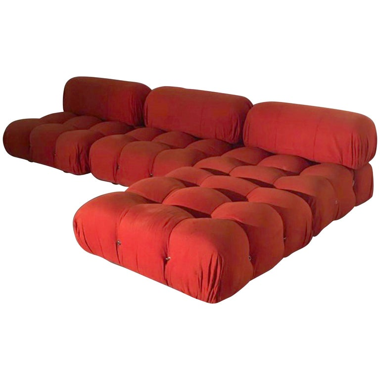 Mario Bellini B&B Italia, Camaleonda Sofa Set in Orange Upholstery, 1970 For Sale