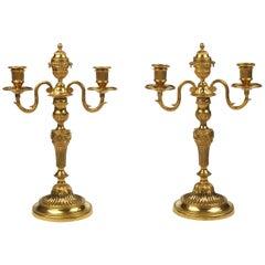 Pair of Louis XVI Ormolu Two Light Candelabra
