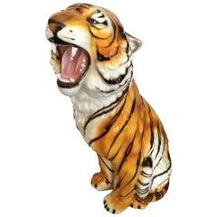 Large Mid Century Ceramic Tiger