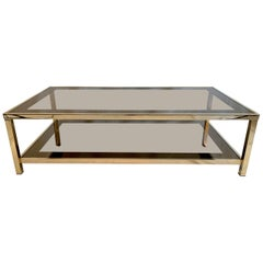 23-Karat Gold-Plated Two-Tier Coffee Table by Belgo Chrome