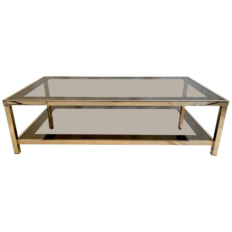 23-Karat Gold-Plated Two-Tier Coffee Table by Belgo Chrome For Sale