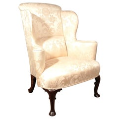 George III Walnut Wing Back Chair in Pale Cream, circa 1780