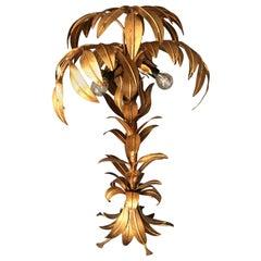 Hans Kogl Vergoldete Palme Lampe, 1970er