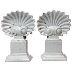 Pair of White Enamel Shell Andirons