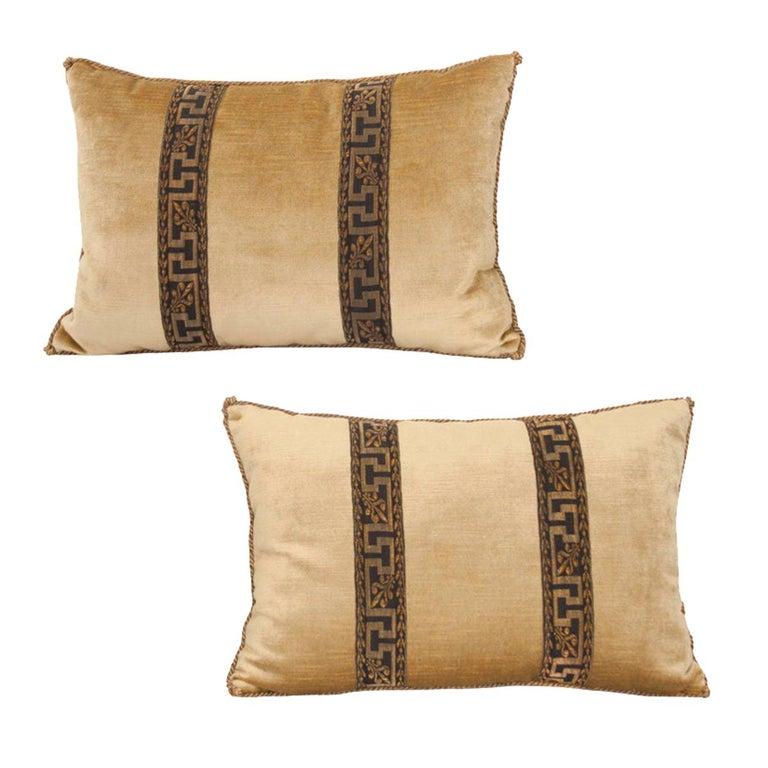 Pair of B.Viz Design Antique Textile Pillows For Sale