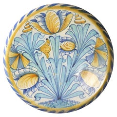 English Delftware Blue Dash Charger with Tulips & Carnations London 17th Century