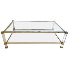 Two-Tier Lucite and Brass Coffee Table by Pierre Vandel