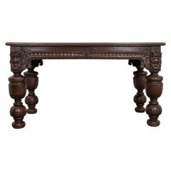 French 18th Century Hand Carved Oak Refectory Table