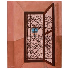 Original Painting on Canvas of Moroccan Riad Window and Light Pendant
