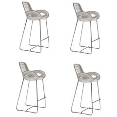 Set of 4, Outdoor Bar Stools Handwoven White or Black with Stainless Steel Base