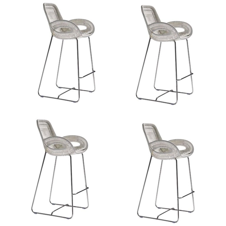 Cowhide Barstools Vintage Black White Hairhide Leather Bar: Set Of 4, Outdoor Bar Stools Handwoven White Or Black With