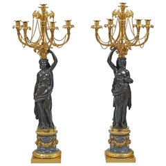 Pair of Louis XVI Gilt Bronze, Candelabra Attributed to Francois Remond