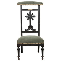 French 19th Century Upholstered Ebony Prie Deux