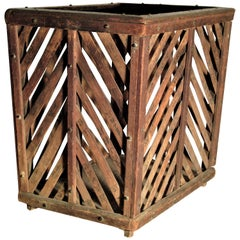 Antique Chinese Wood and Bamboo Slat Basket
