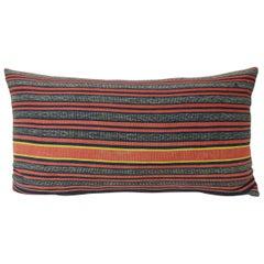 Vintage Asian Red and Indigo Woven Lumbar Pillow