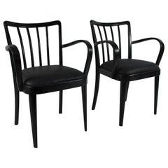 """Pair of """"Burned"""" Midcentury Designer Chairs, Austria, circa 1950/ 2019"""