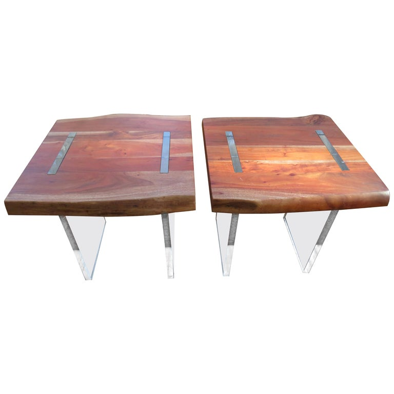 Handsome Pair of Nakashima Style Walnut Lucite Live Edge Side End Tables For Sale