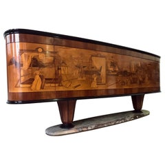 Italian Art Deco Sideboard Buffet by Vittorio Dassi with Big Inlaid Scene, 1940s