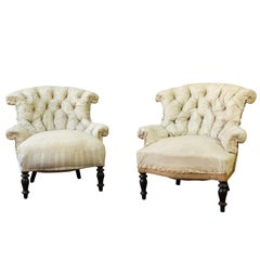 Pair of 19th Century French Tufted Armchairs in Muslin