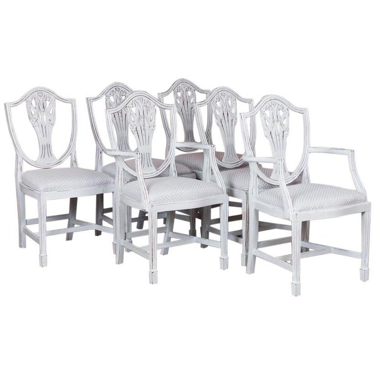 Excellent Set Of Six Antique White Painted Swedish Dining Chairs Beatyapartments Chair Design Images Beatyapartmentscom