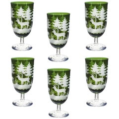 Set of Six Wine Glasses Green with Hunting Decor Sofina Boutique Kitzbuehel