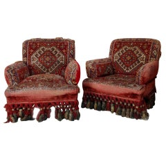 Pair of Napoleon III Armchairs with Tapestry Fabric