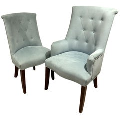 Modern Set 14 Light Blue Ultra Suede Barrel Back Button Tufted Arm Side Chairs