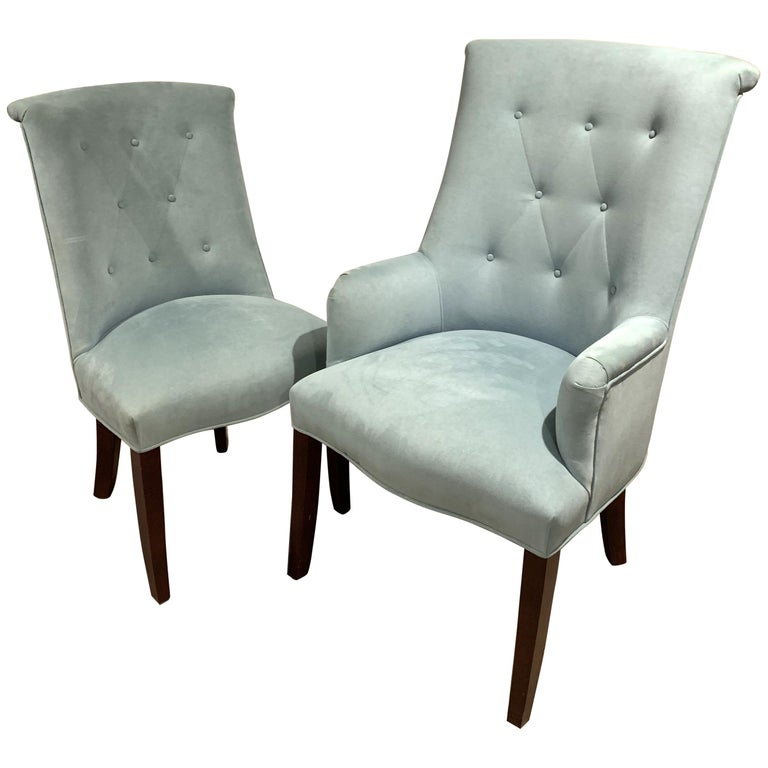 Modern Set 14 Light Blue Ultra Suede Barrel Back Button Tufted Arm Side Chairs 1