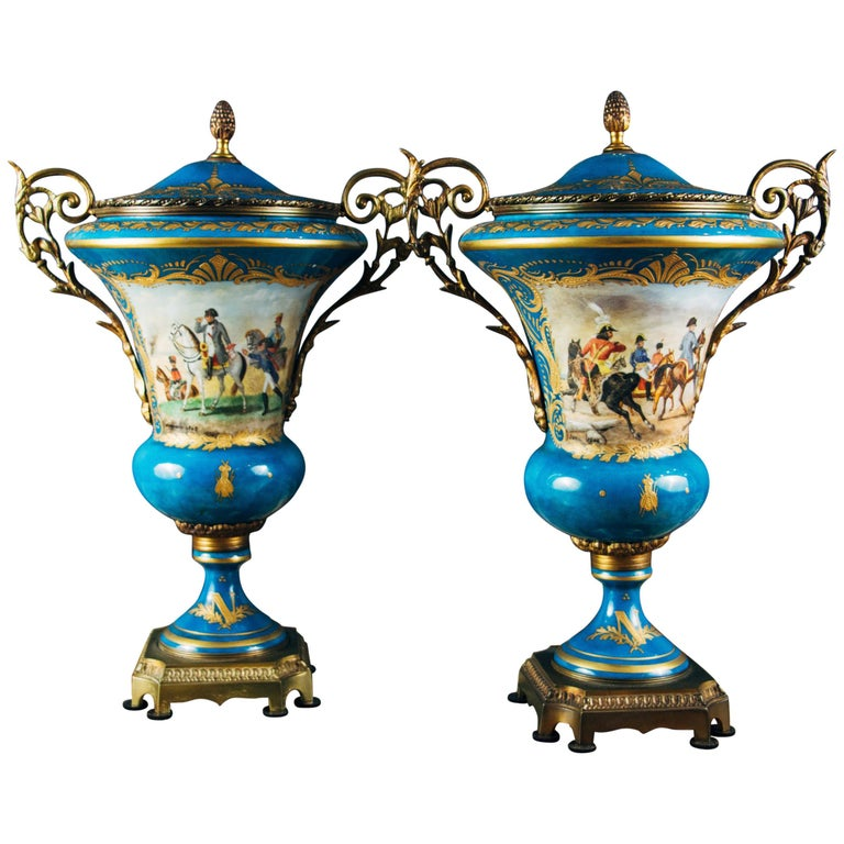 Pair Of Ormolu-Mounted Sevres Style Porcelain Vases For