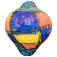 Ioan Nemtoi Hand Blown Yellow, Blue, Green and Red Glass Vase, 2006, Signed