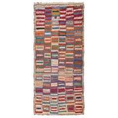 Vintage Mid-Century Moroccan Rag Rug. Size: 3 ft 10 in x 8 ft 8 in
