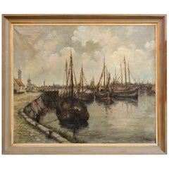 19th Century Continental Oil of Harbor Scene