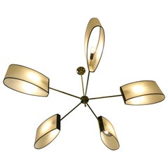 1950s Circular chandelier with Five Arms of Light by Maison Lunel